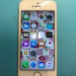 ガラスコーティングパネル装着の iPhone SE。
